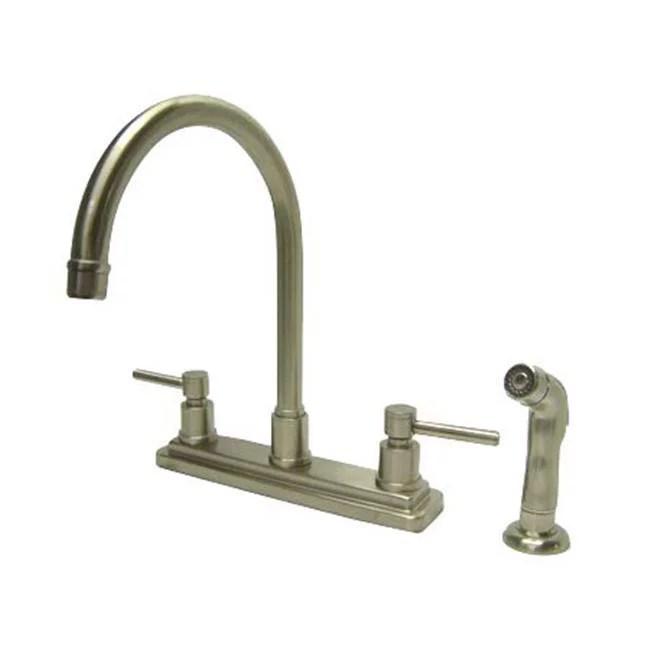 8 inch center kitchen faucet with side sprayer satin nickel
