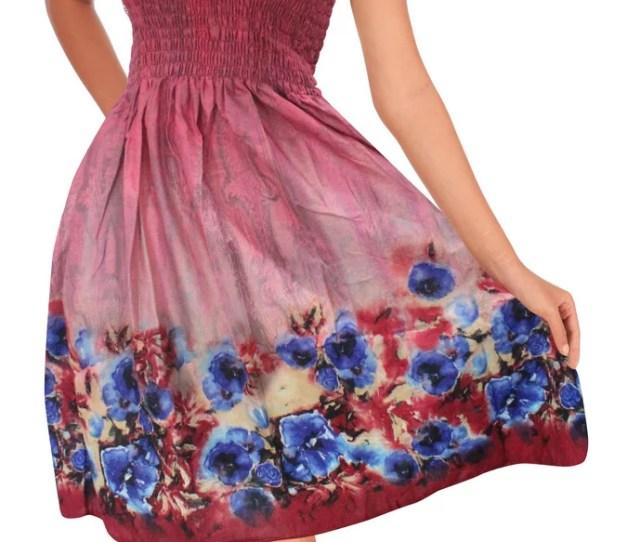 La Leela La Leela Cotton Digital Sundress Strapless Aloha Tube Dress Maroon 1370 One Size Walmart Com