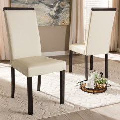 Cream Upholstered Dining Chairs Fold Away Table And Baxton Studio Daveney Modern Contemporary Faux Leather Chair Walmart Com