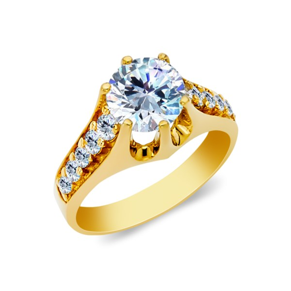 Ioka - 14k Yellow Solid Gold 1.5 Ct Cut Cubic Zirconia Cz Wedding Engagement Ring Size 8
