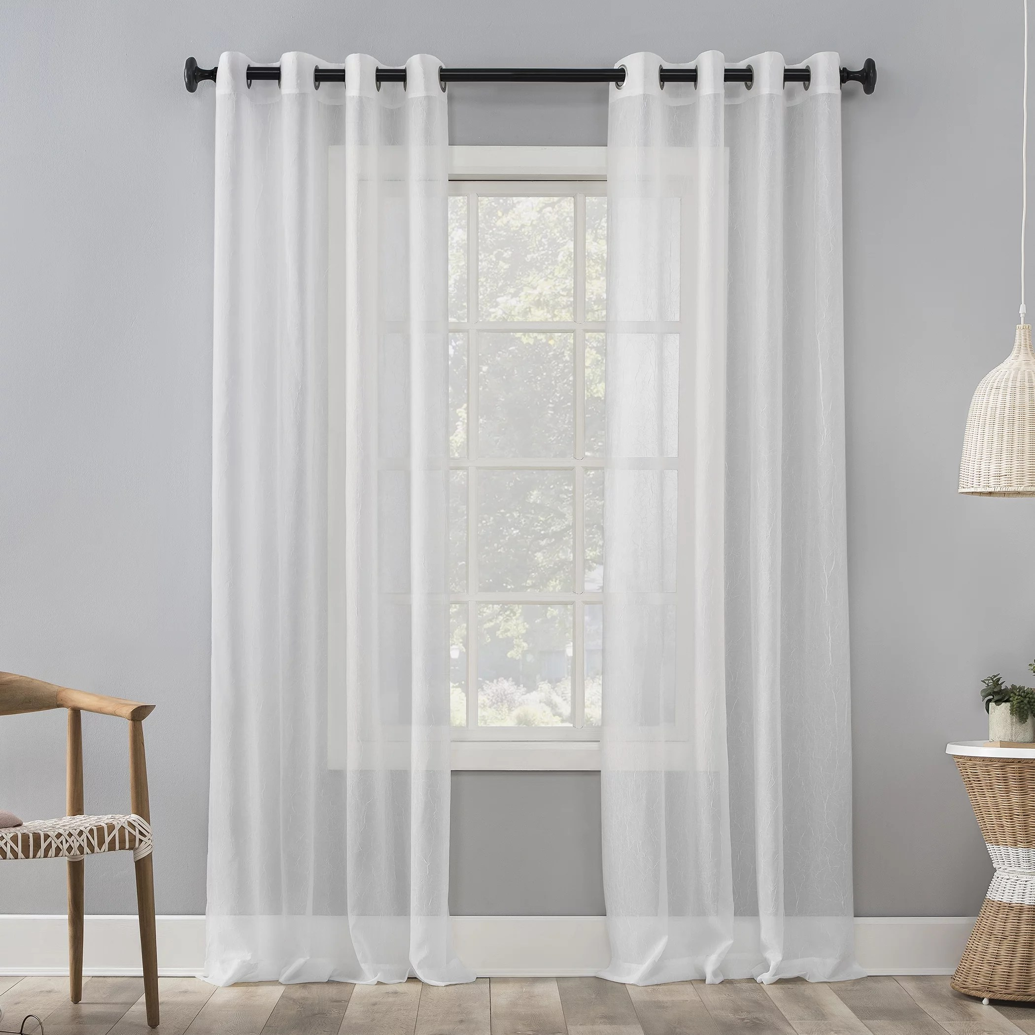 mainstays marjorie crushed sheer voile grommet white curtain panel