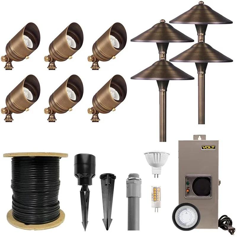 volt brass landscape lighting kit 6 spotlights 4 path lights