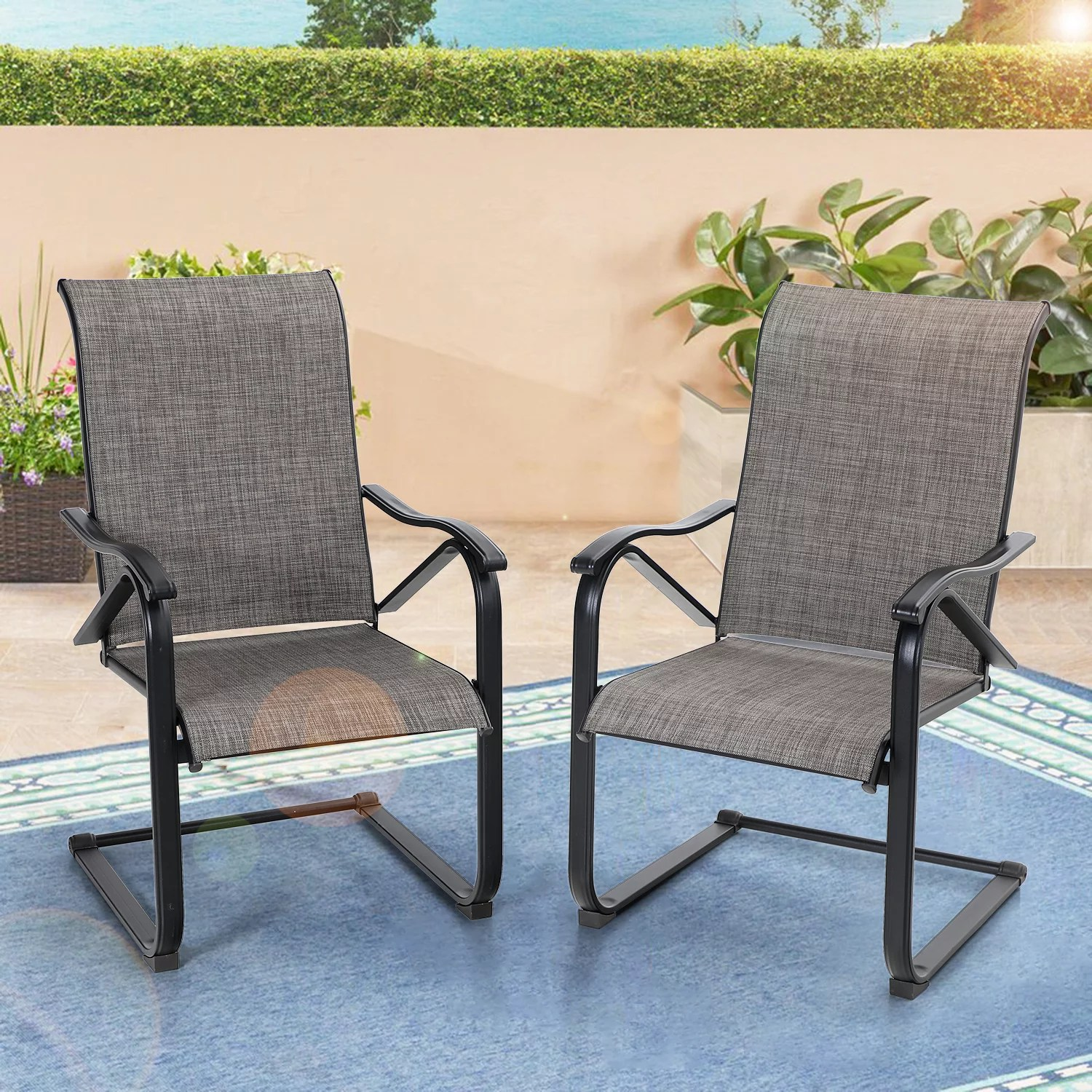 mf studio 2pcs outdoor patio dining chairs outdoor furniture c spring metal bistro chairs high back support 300lbs for backyard garden balcony