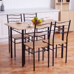 Dining Table With Metal Chairs Kids Camo Recliner Chair Costway 5 Piece Set 4 Wood Kitchen Breakfast Furniture Walmart Com