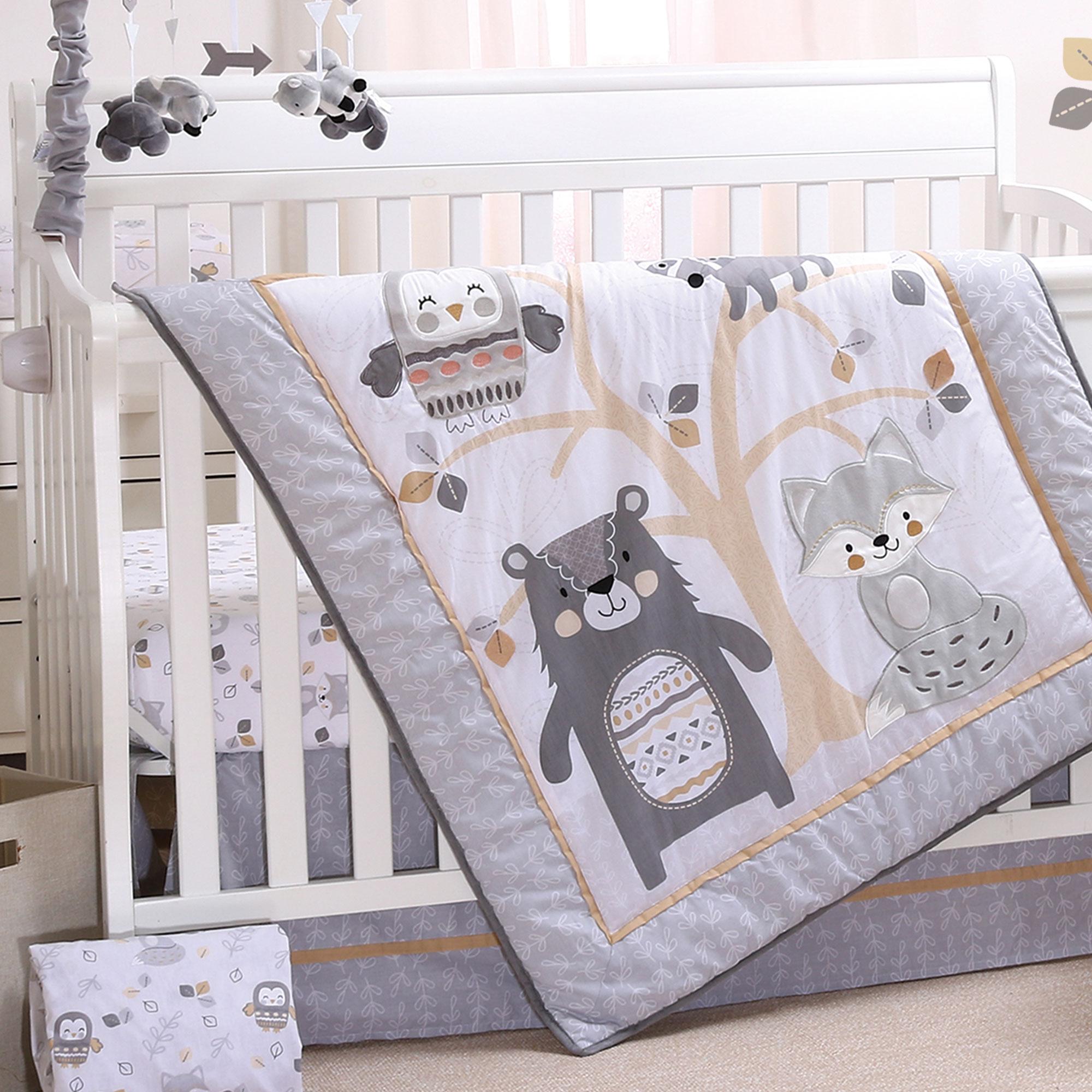 woodland friends 4 piece forest animal theme baby crib bedding set grey tan walmart com