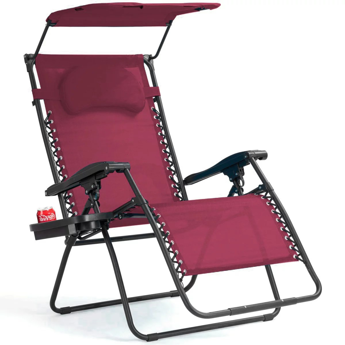 Zero Gravity Chair Recliner Gymax Folding Recliner Zero Gravity Lounge Chair W Shade Canopy Cup Holder Wine
