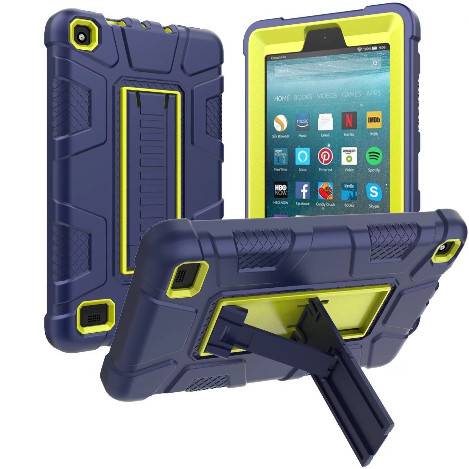 Allytech Shockproof Case for Amazon 7 Inch Tablet Fire 7 2019 9th Generation. Heavy Duty Protective Kickstand Rubber Kids Children Proof Cases ...