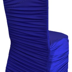 Ruched Chair Covers Average Cost To Reupholster A Dining Room Wedding Linens Inc Ruffle Spandex Banquet Fitted Ruffled Lycra Stretch Elastic Party Decoration Royal Blue 5 Pcs