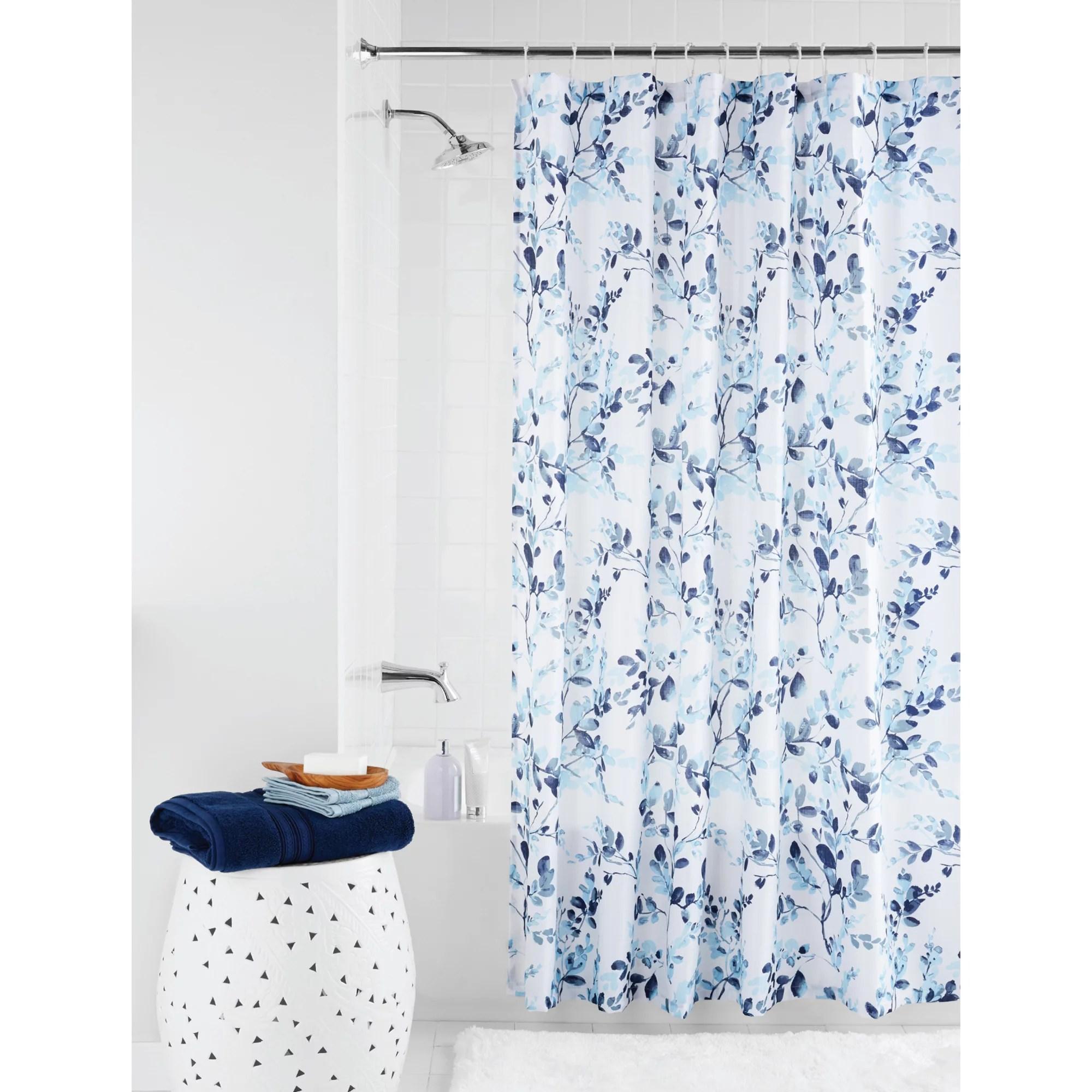 mainstays watercolor botanical floral fabric shower curtain 70 x 72 blue walmart com