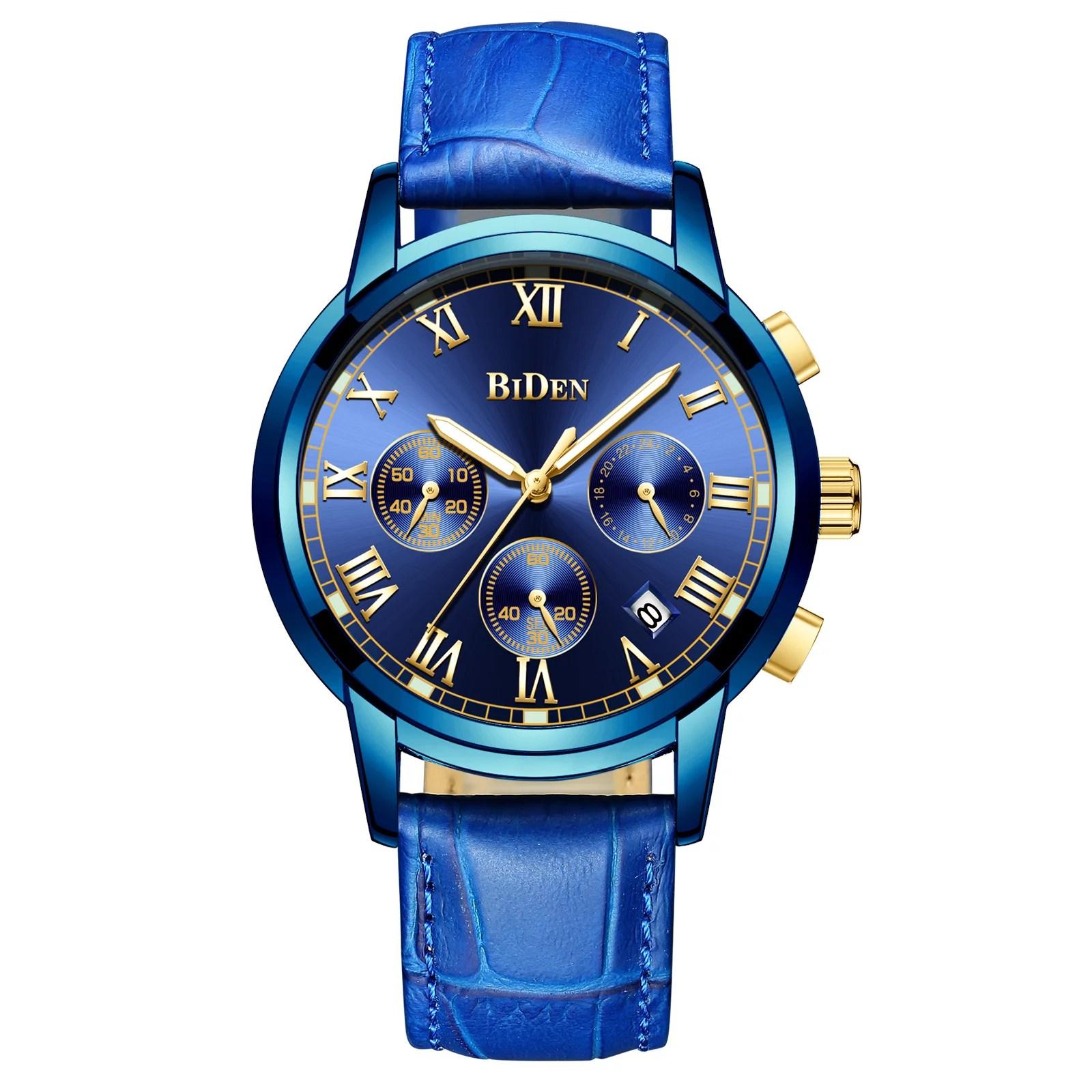 Ess Mens Quartz Watch Blue Face Leather Strap 3 Dials