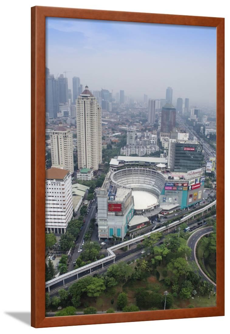 Jakarta Cityscape In Indonesia Framed Print Wall Art By