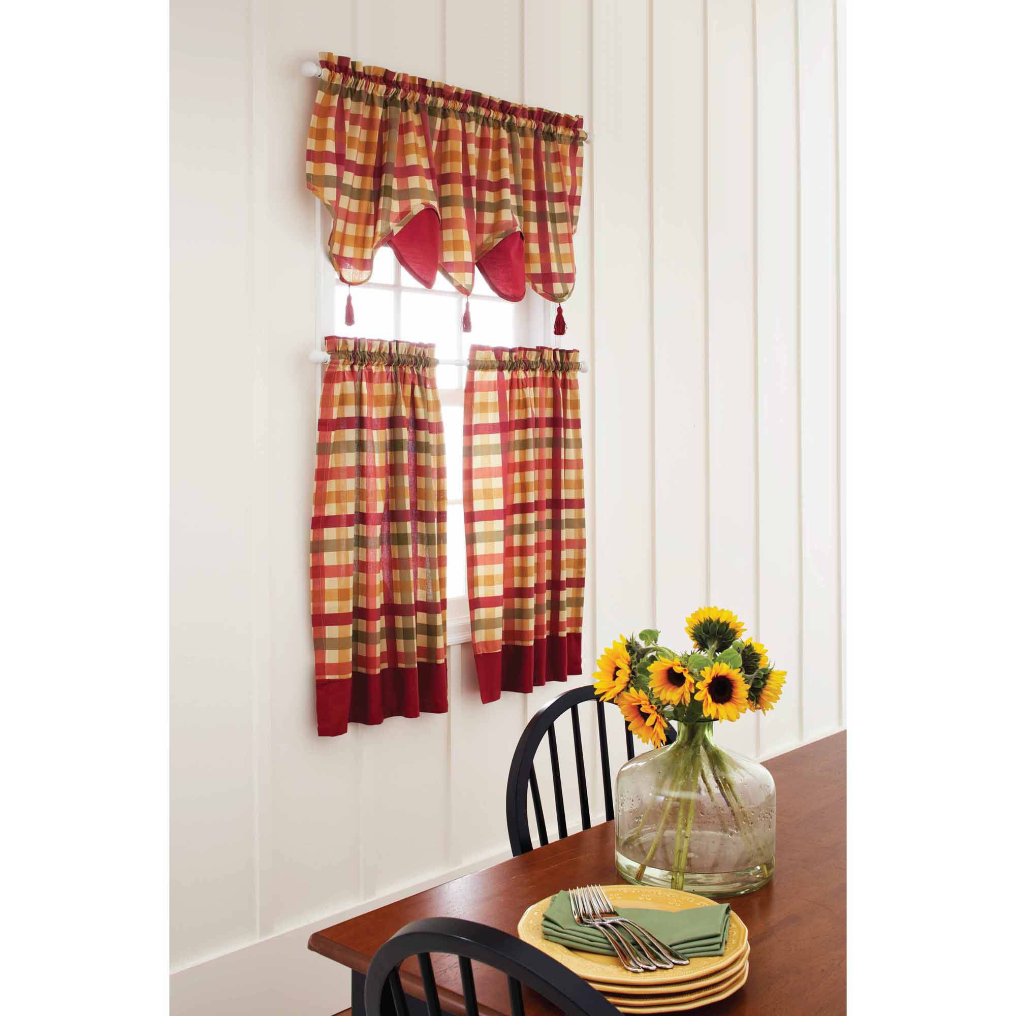 Red curtains walmart - Better Homes And Gardens Red Check Tier Valance Or Swag Valance