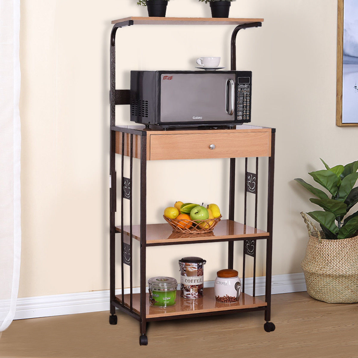 kitchen bakers rack irish blessing costway 59 microwave stand rolling storage cart w electric outlet