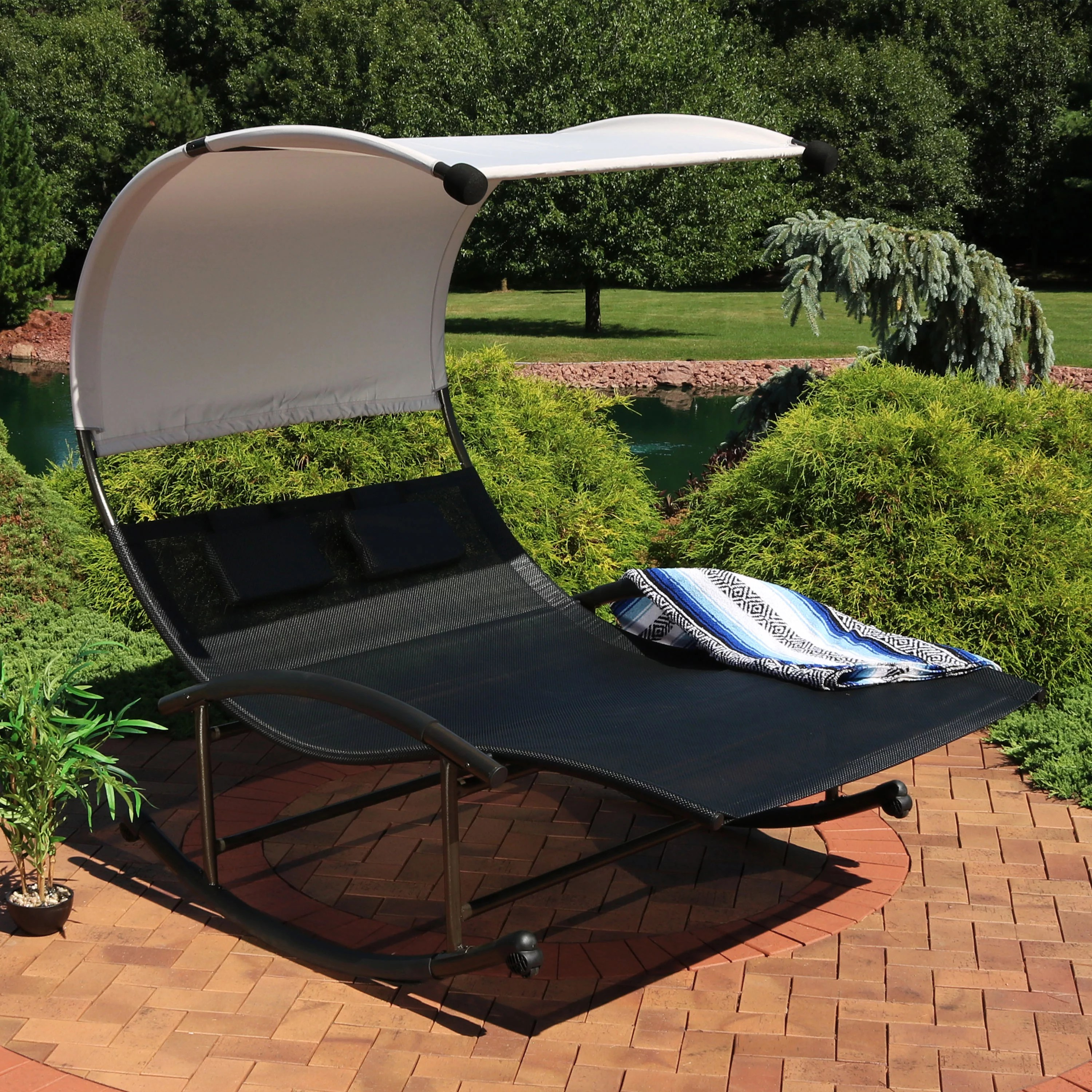 lounge chair with canopy round sitting room chairs sunnydaze outdoor double chaise rocking