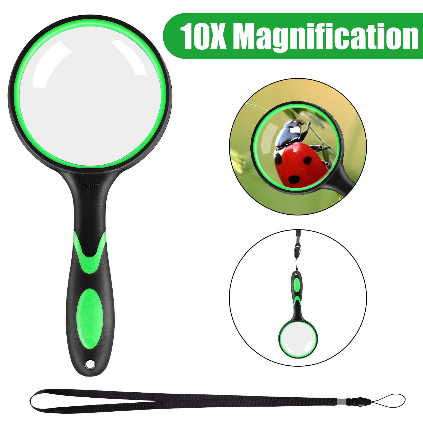 Large Magnifying Glass 10x Handheld Reading Magnifier For