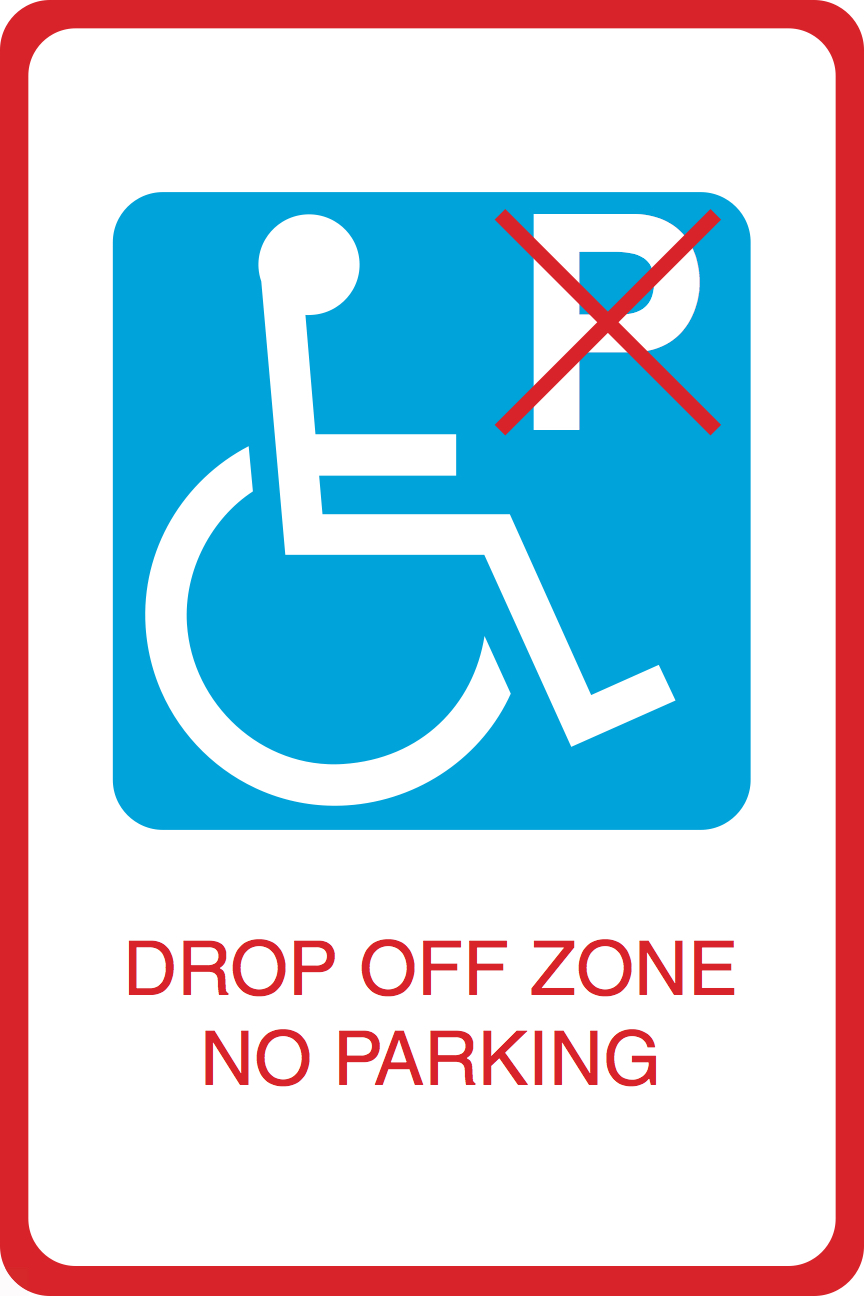 Handicap Symbol Drop Off Zone No Parking Print Large Car Lot Business Office Sign 12x18 Walmart Com Walmart Com