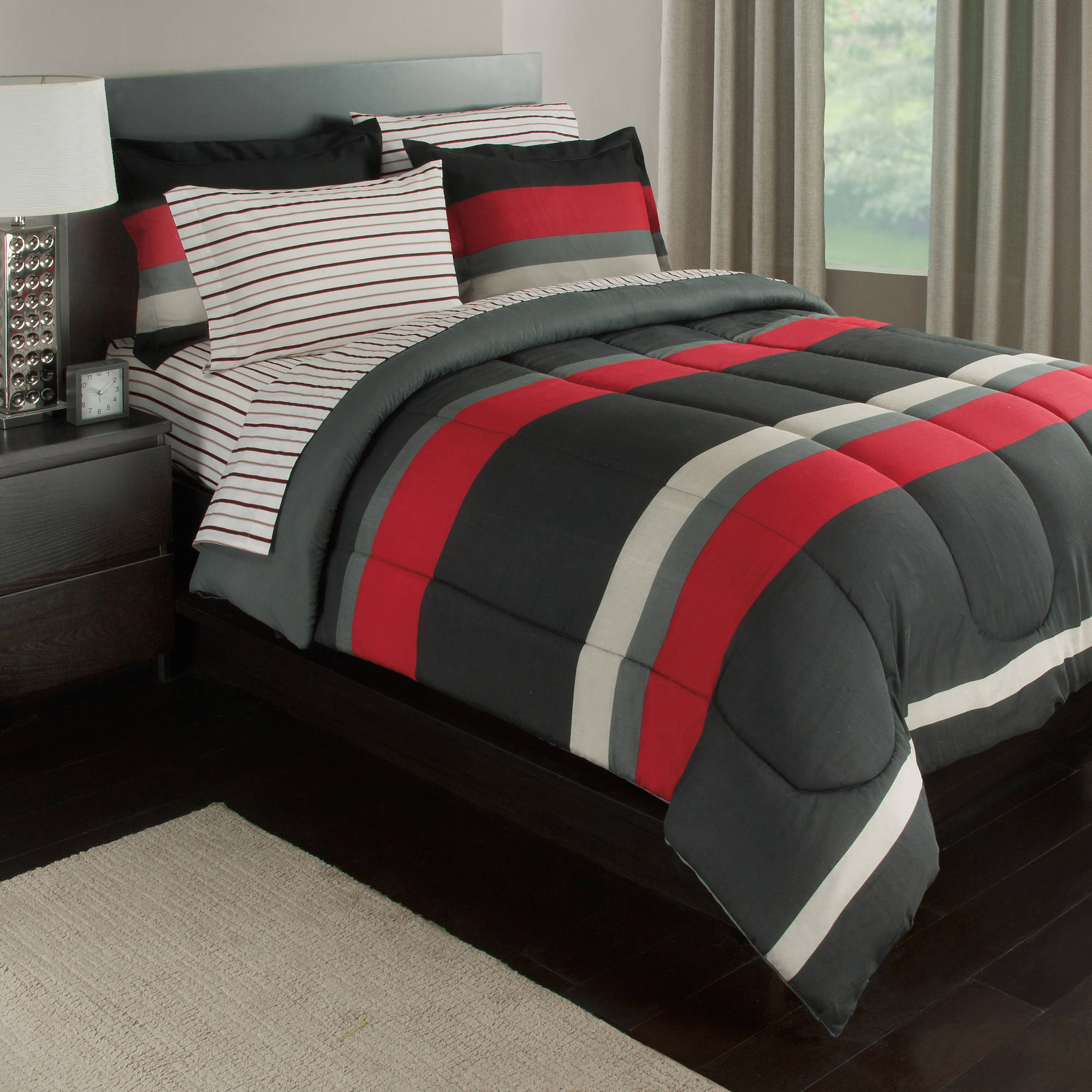 terrific red black bedroom