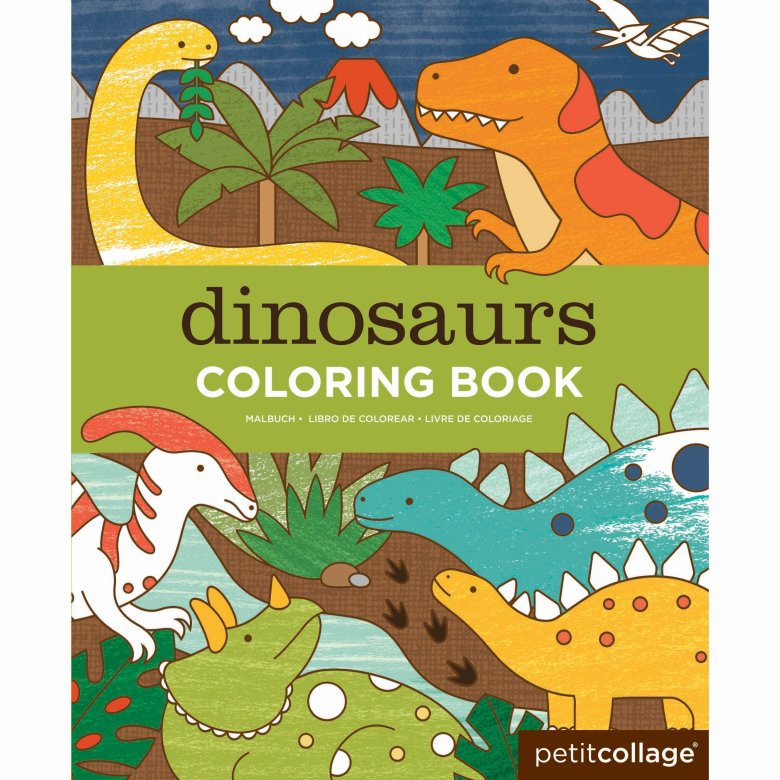 petit collage coloring book, dinosaurs