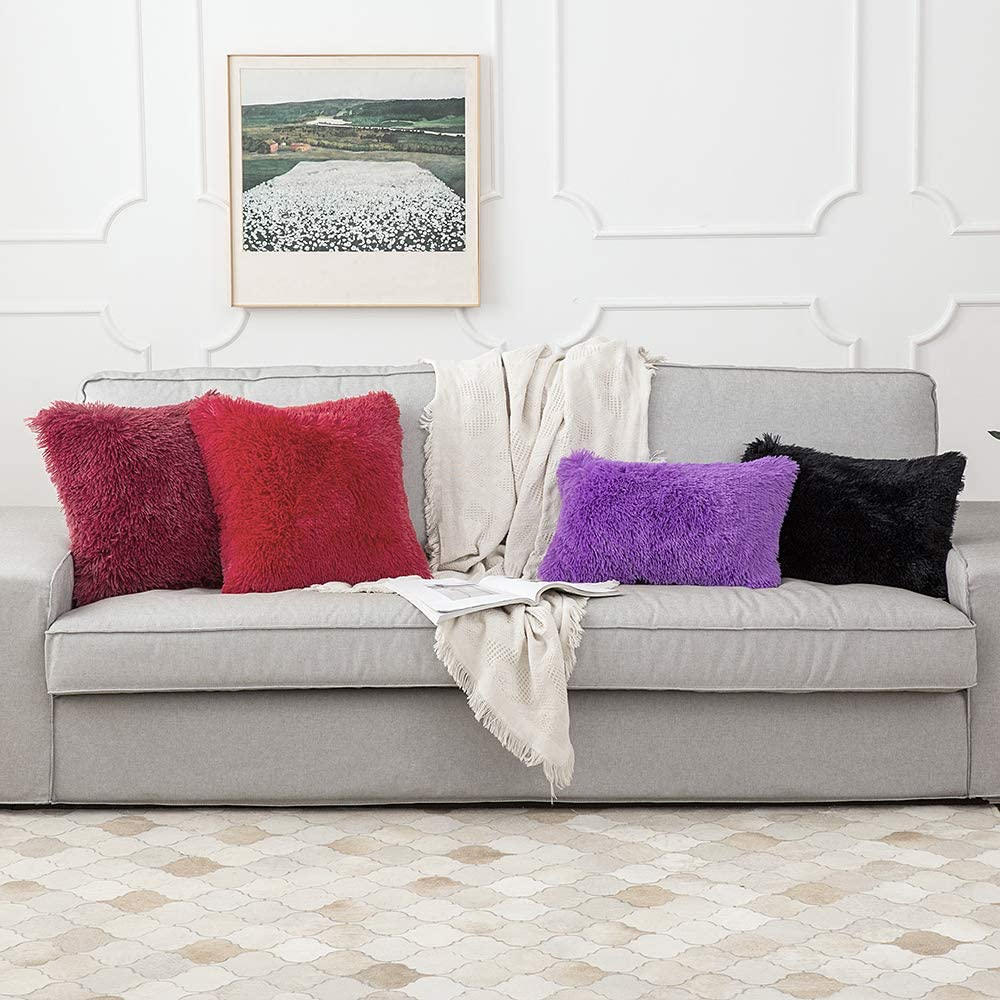 2pcs luxury series throw pillow covers faux fur mongolian style plush cushion case for couch bed and chair