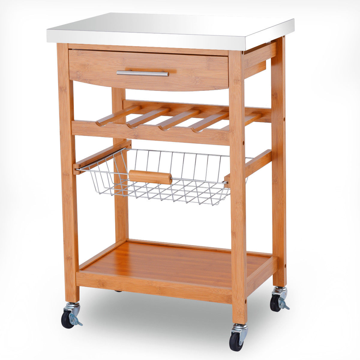 kitchen serving cart remodel cost gymax bamboo rolling trolley storage island stainless steel top