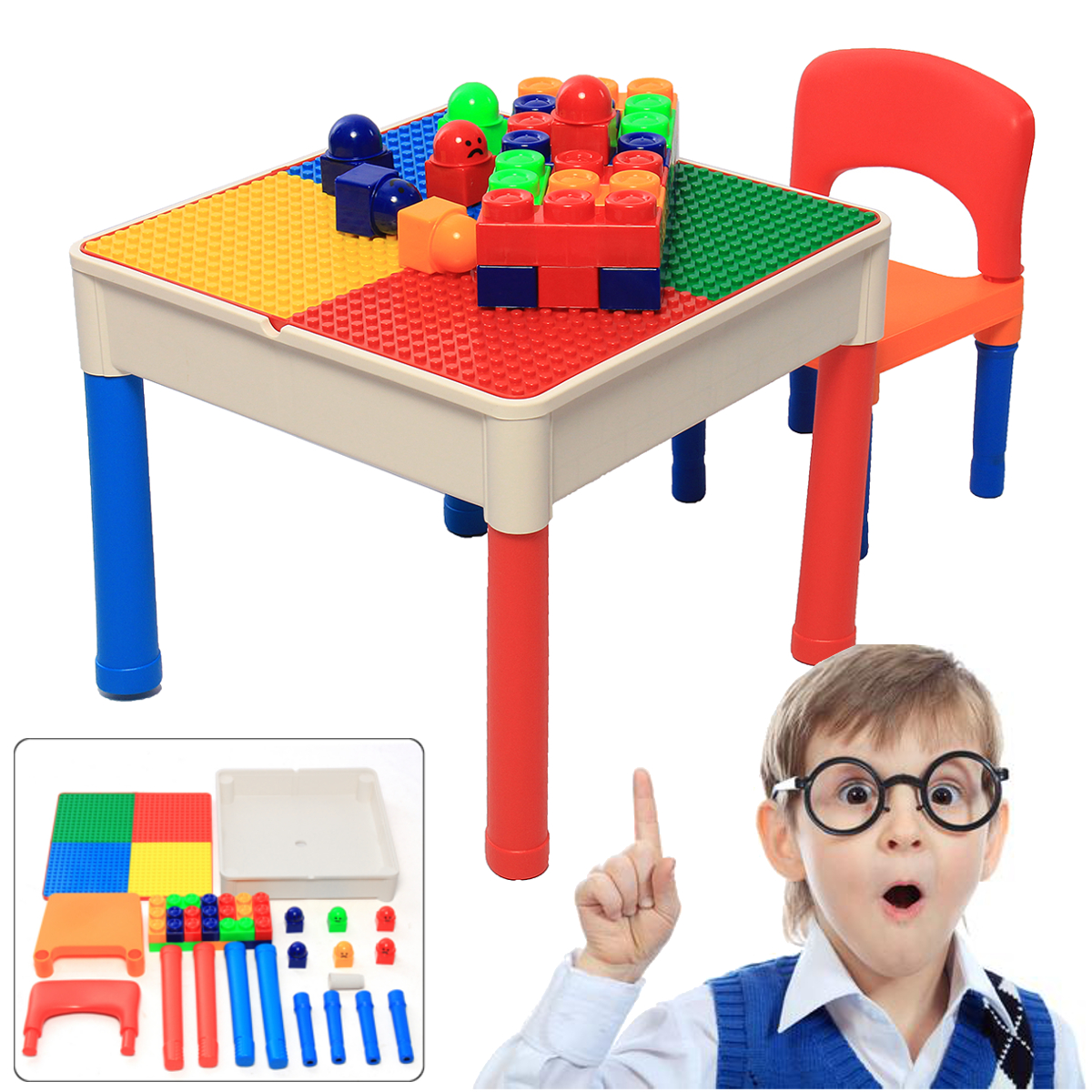 2 In 1building Blocks Table Play Amp Build Table Set For