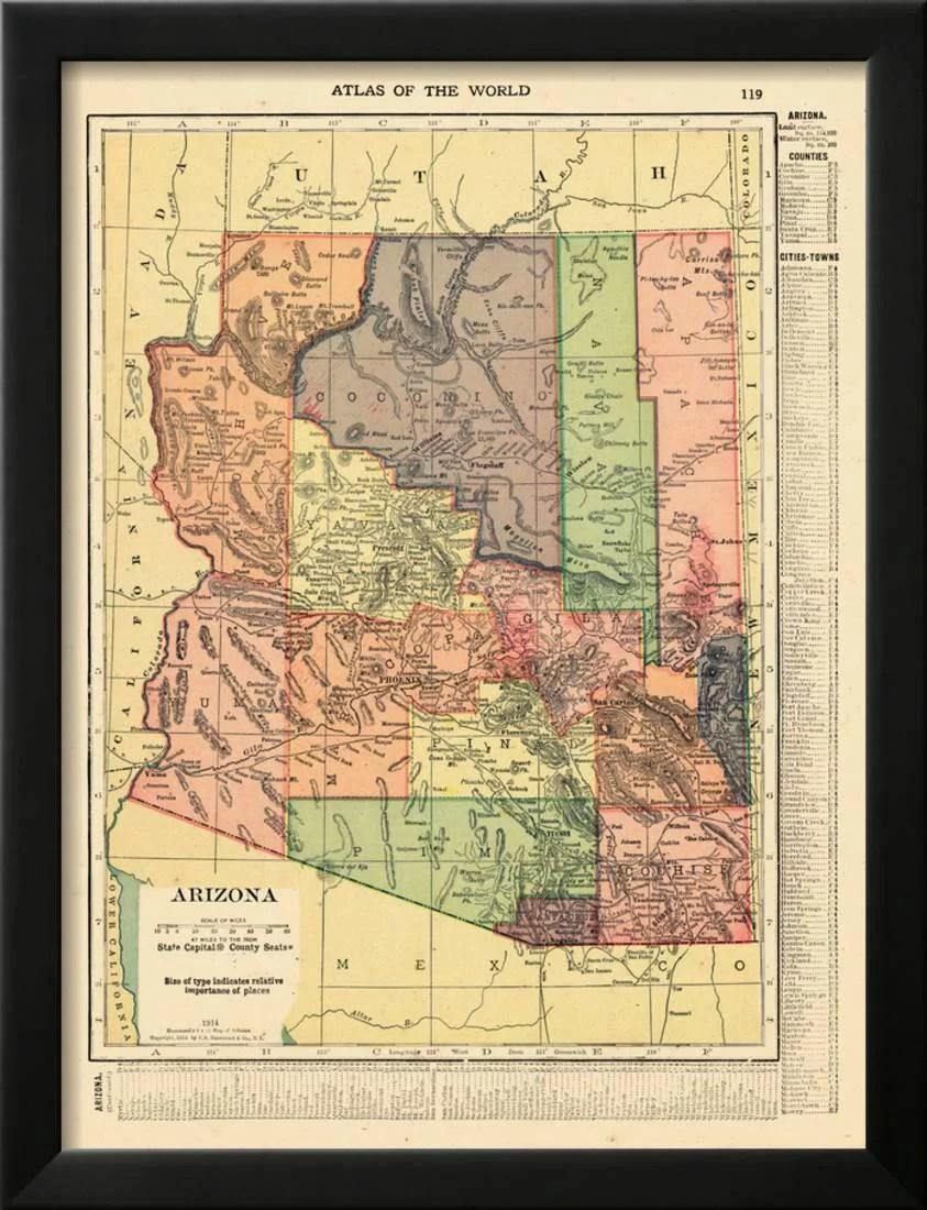 Arizona State Map Arizona United States Framed Print   iltribuno.com