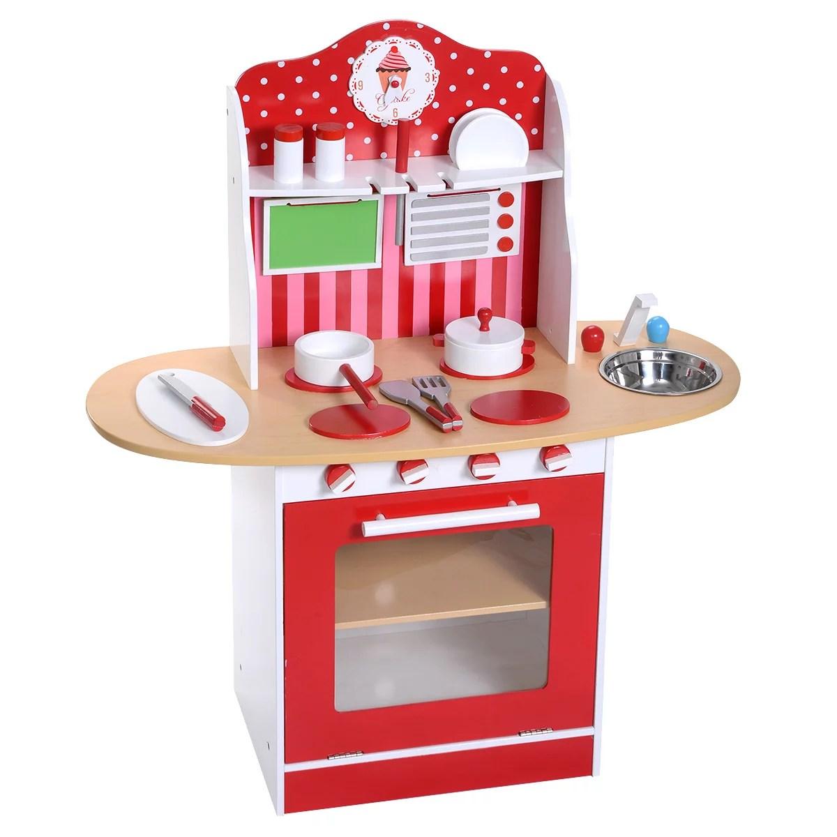Costway New Kids Wood Kitchen Toy Cooking Pretend Play Set