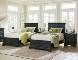 Farmhouse Basics Double Twin Bedroom Set with 2 Twin Beds ...