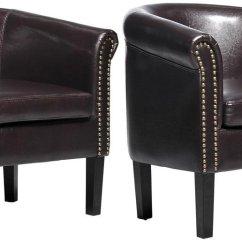 Tub Chair Brown Leather Marianna High Homcom Nailhead Faux Barrel Club Arm 2 Pack Walmart Com