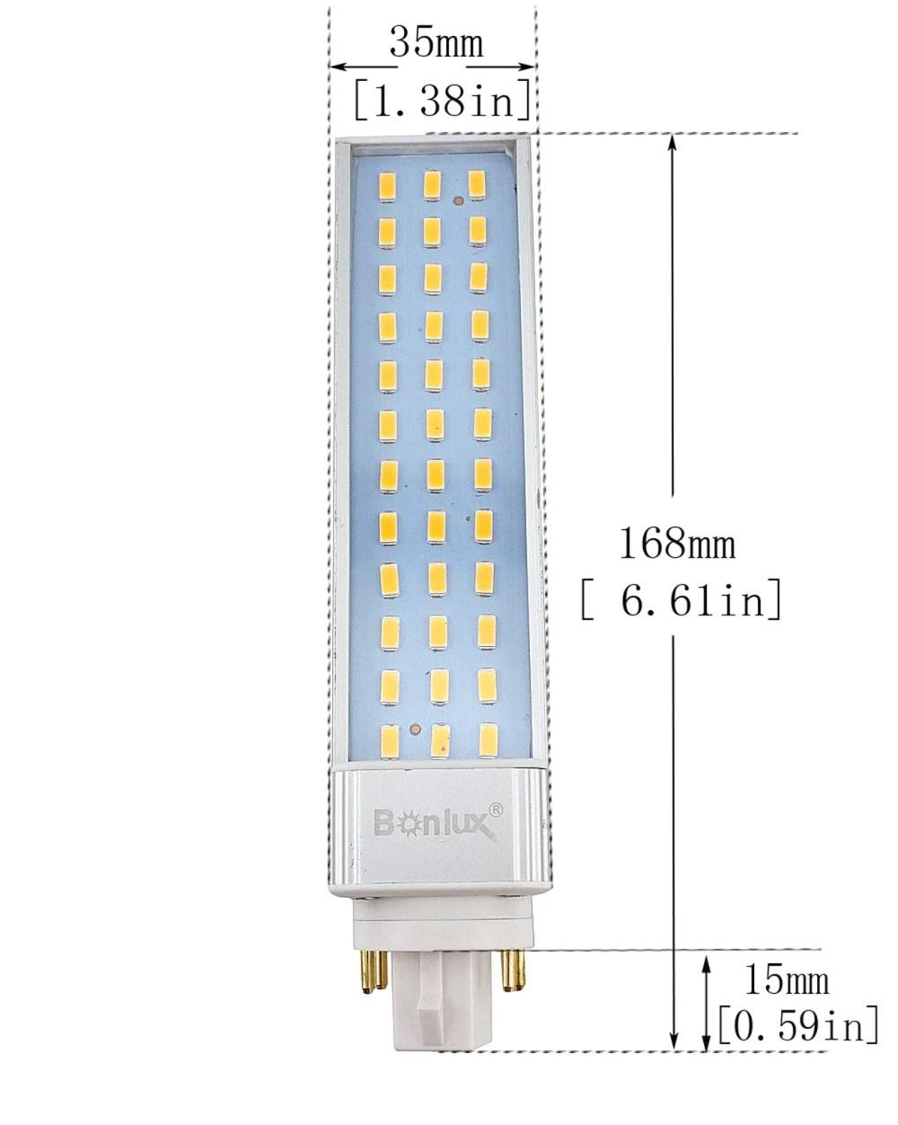 medium resolution of bonlux 13w gx24 rotatable led plc lamp g24q gx24q 4 pin base 26w cfl