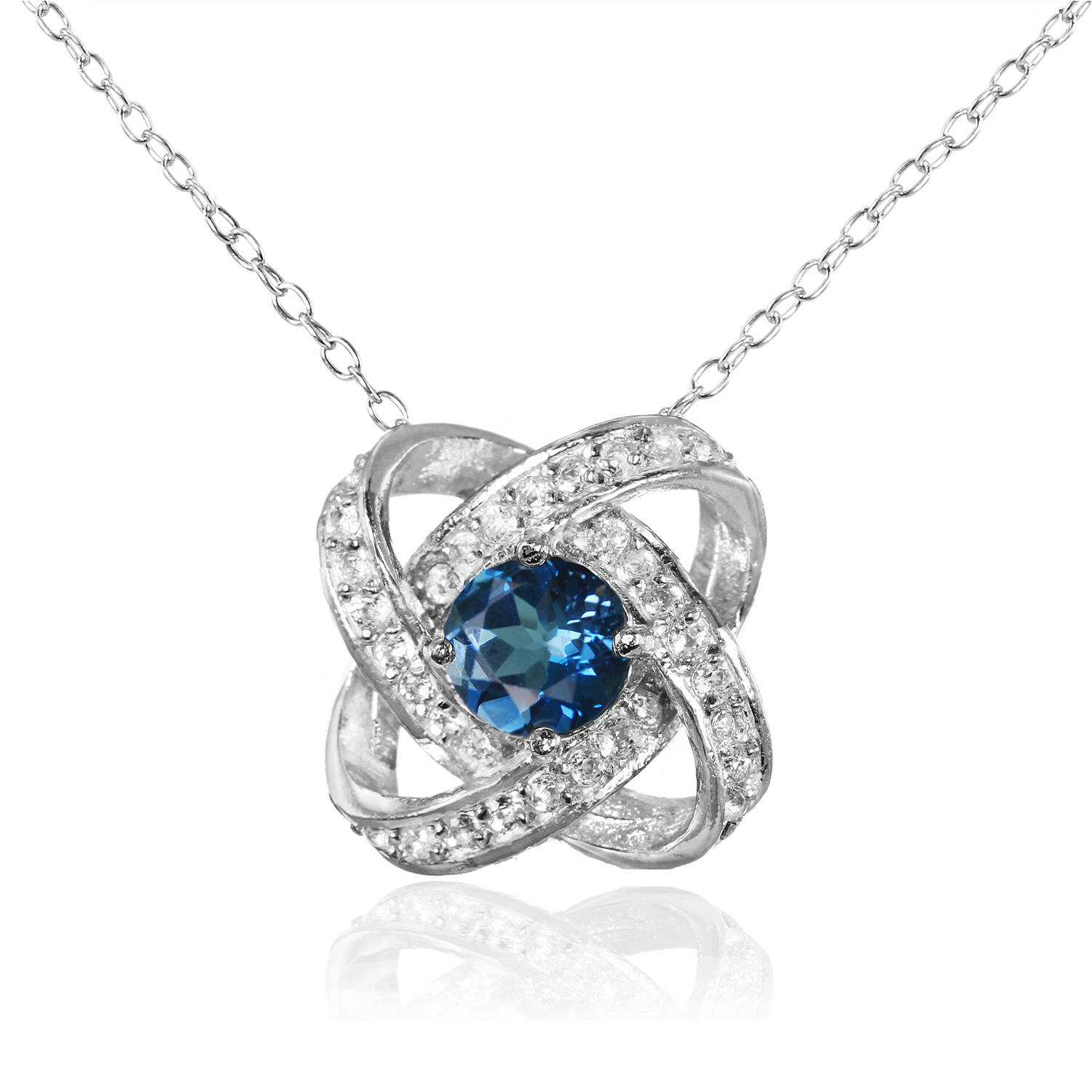 London Blue and White Topaz Sterling Silver Love Knot