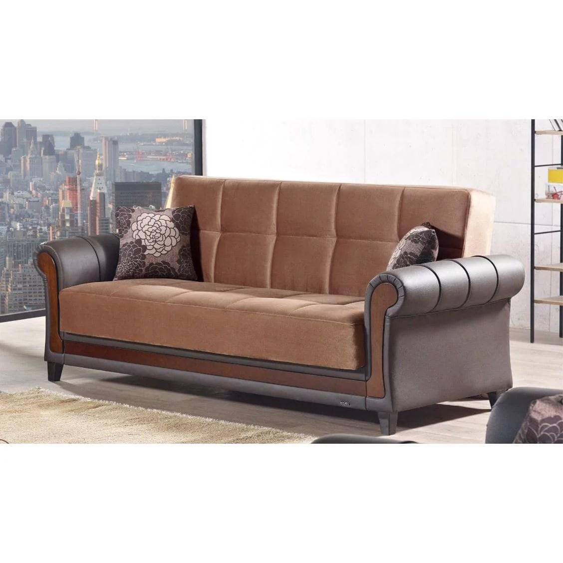 living room furniture long island colour schemes 2018 empire brown fabric vinyl sleeper storage sofa