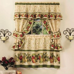 Kitchen Curtain Sets Small Dishwashers Cottage Set Apple Orchard Walmart Com