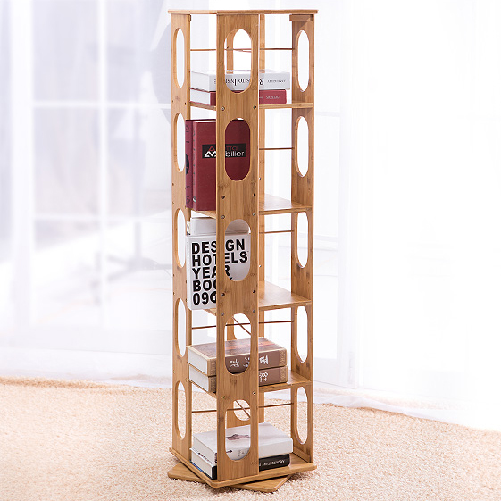 5 tier 57 5 natural bamboo bookshelf revolving bookcase organizer cabinet rack