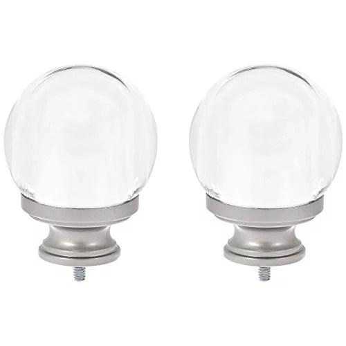basics clear acrylic ball curtain rod finials set of two nickel