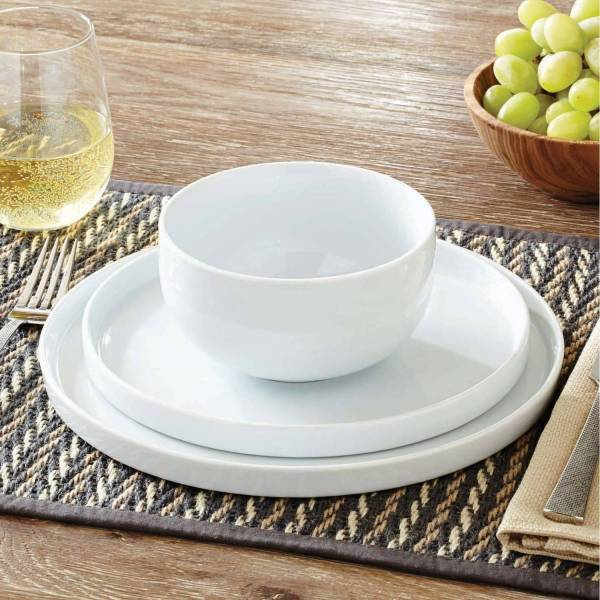 Modern Rim 12 Piece Dinnerware Set White 4 Dinner Salad Plates Bowls