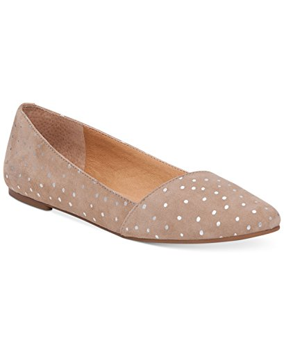 Lucky Brand Women's Arch Flat POinted Toe Studded Nude Flats (Grout, 11 B(M) US)