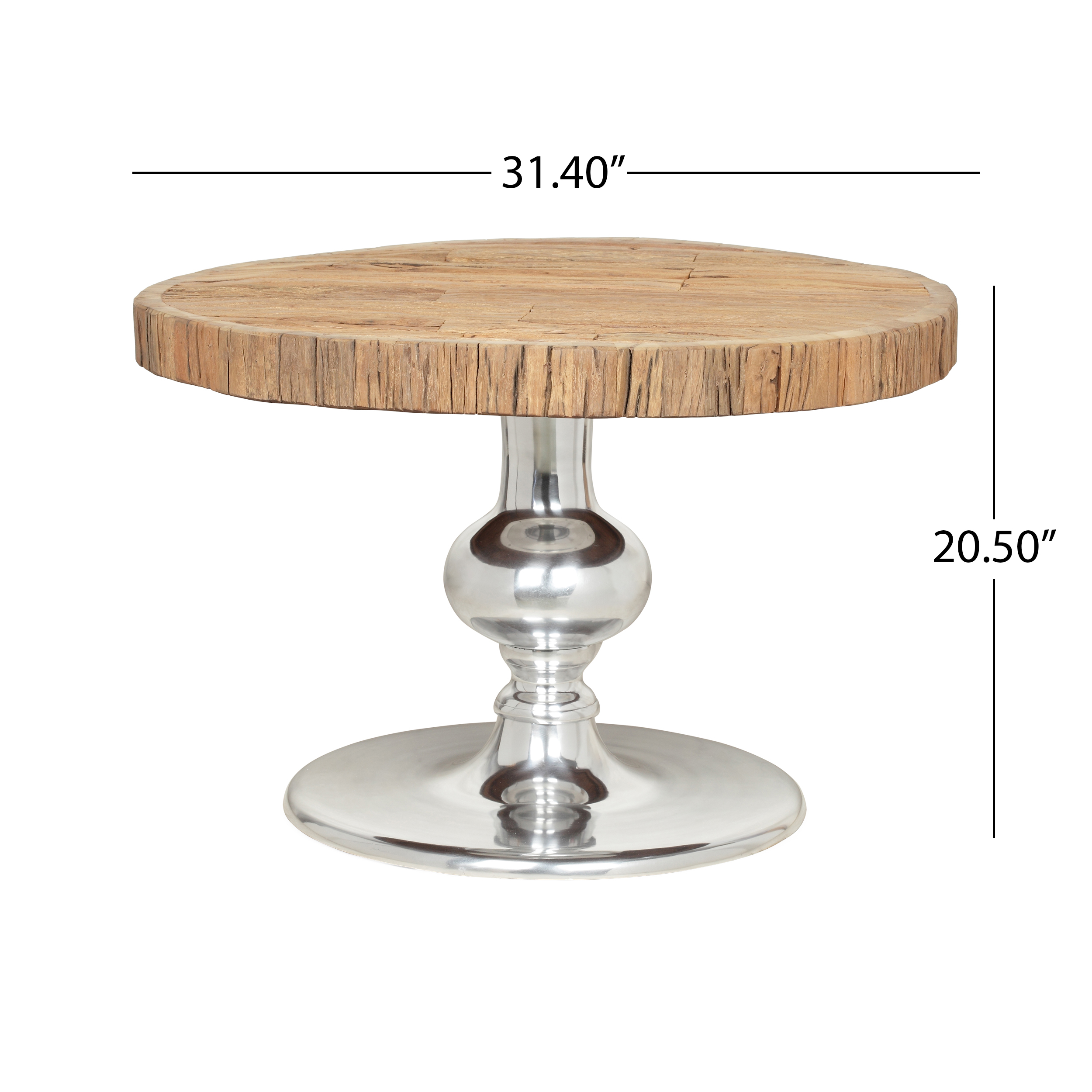 oxton handcrafted rustic glam coffee table with raw wood tabletop natural and shiny silver