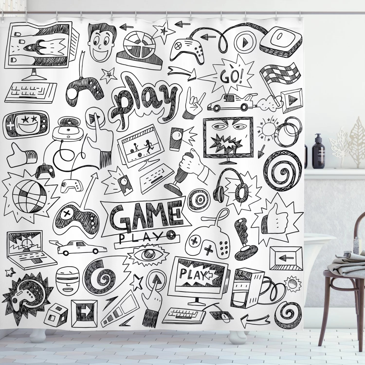 video games shower curtain gaming theme sketch style print fabric bathroom decor set with hooks 70 inches long by ambesonne