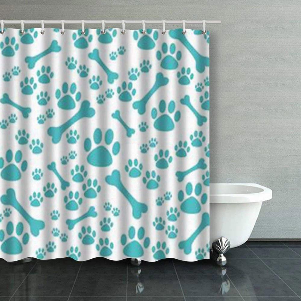 rylablue dog paw print bone bones shower curtains bathroom curtain 66x72 inch