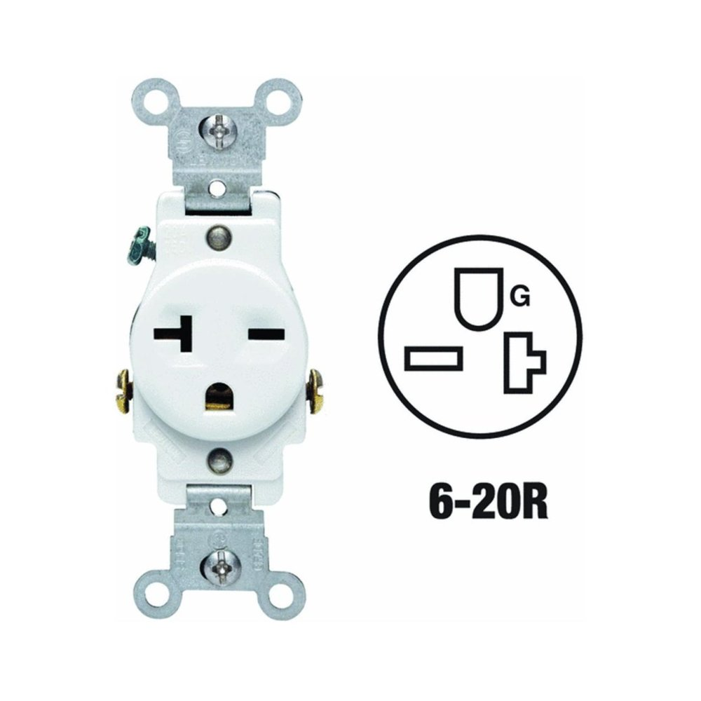 medium resolution of 107 05821 wsp 20 amp 250 volt single receptacle electrical power outlet white all power contacts are triple wipe for maximum conductivity and plug