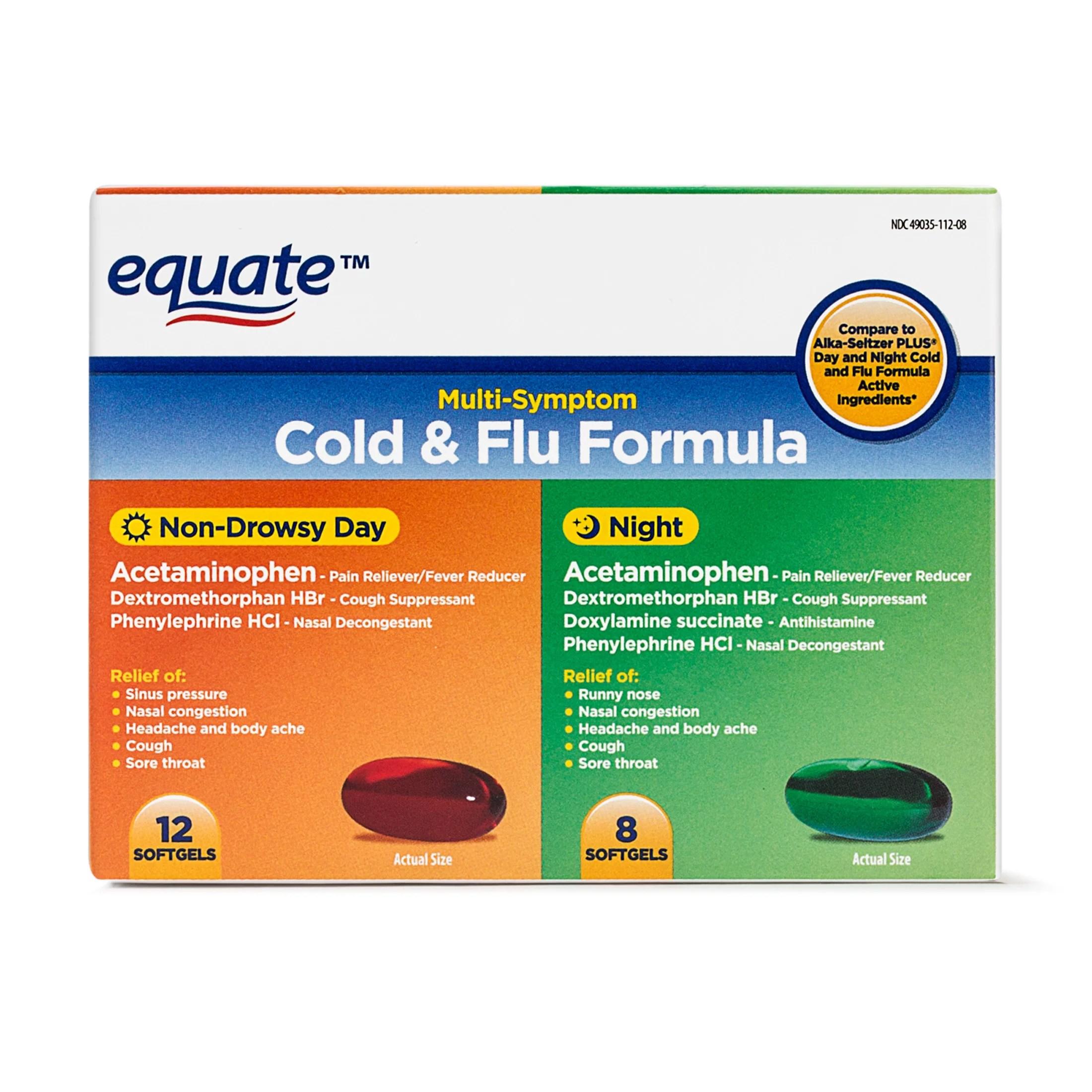 Equate Cold & Flu Formula, 12 Non-Drowsy Softgels, 8 Night ...