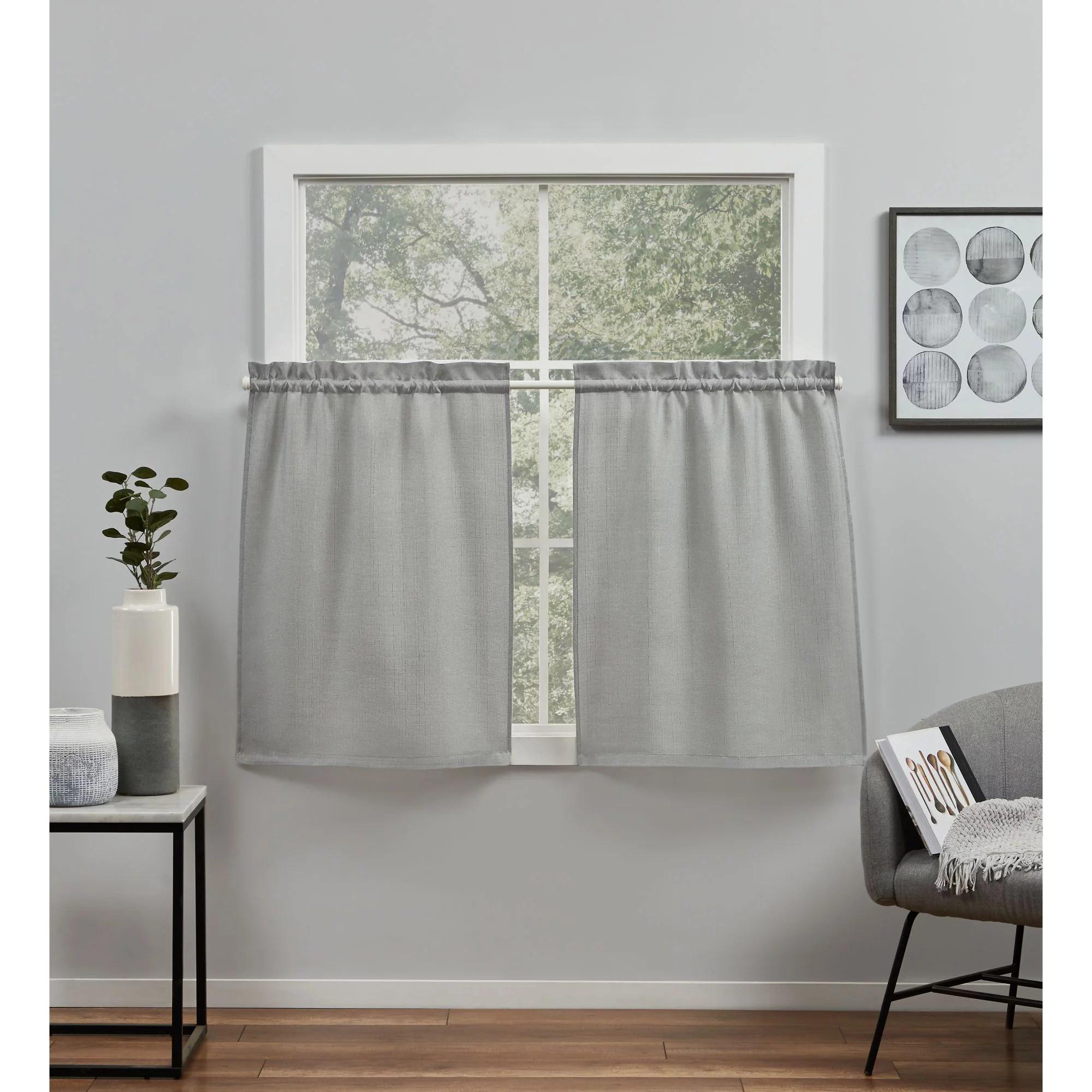 exclusive home curtains loha light filtering rod pocket tier curtain panel pair 26 x 36 dove grey set of 2 walmart com