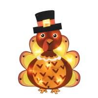 "16"" Lighted Thanksgiving Turkey with Pilgrim Hat Window ..."