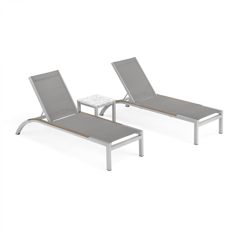 argento 3 piece aluminum patio chaise lounge set w tekwood vintage side rails lite core ash end table by oxford garden