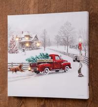 Lighted Christmas Truck Canvas Wall Art - Walmart.com