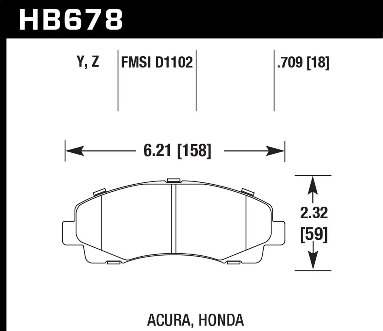 Hawk 11 Honda Ridgeline Street Performance Ceramic
