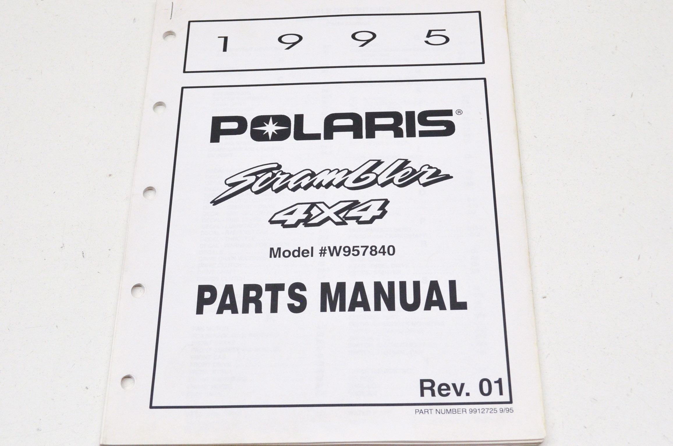 OEM Polaris 9912725 1995 Scrambler 4X4 Parts Manual NOS