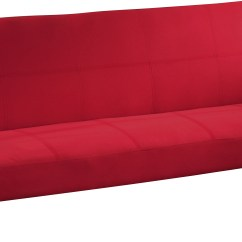 Klik Klak Sofa Reviews Leather Sticky After Cleaning Quinn Red Cotton Canvas Fabric Futon Bed