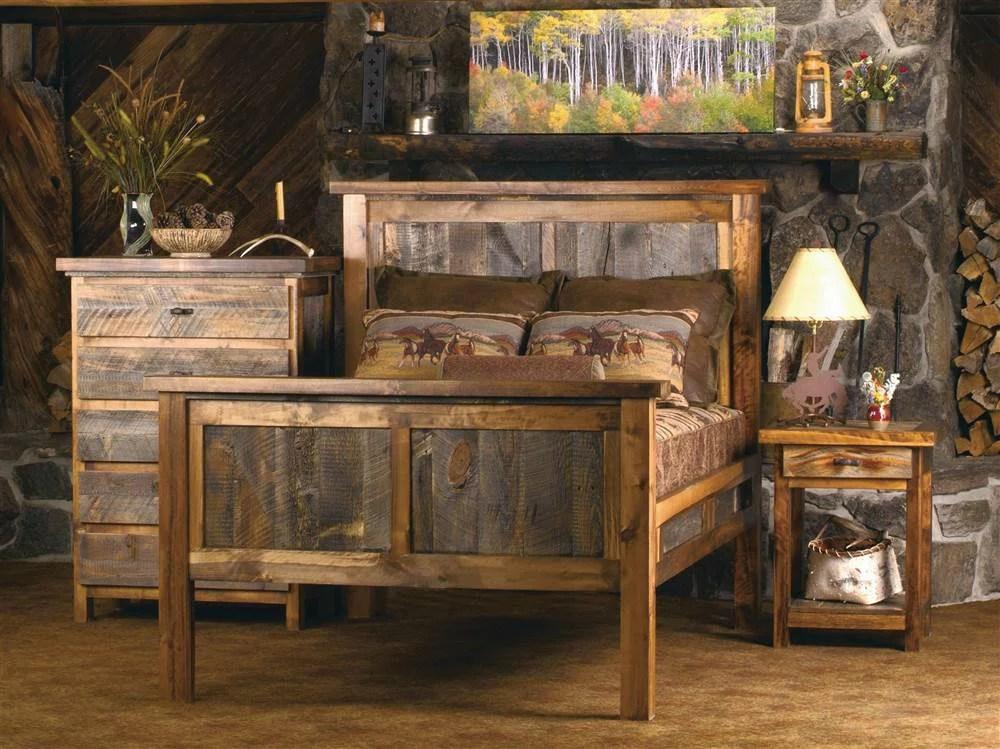 Rustic Wood Panel Bedroom Set Twin